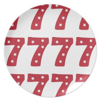 Number 7 - White Stars on Dark Red Plates