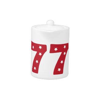 Number 7 - White Stars on Dark Red