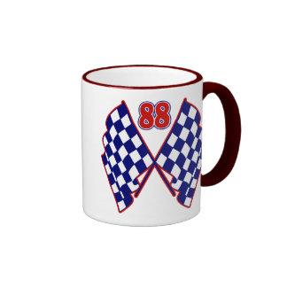 Number 88 and Checkered Flags Mug