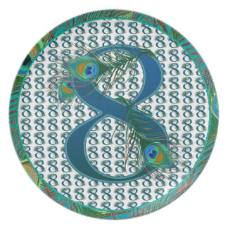 Number 8 / 8rh Anniversary numbered gifts Party Plate