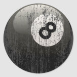 NUMBER 8 BILLIARDS BALL - ERODED AND AGED ROUND STICKER