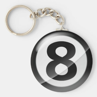 Number 8 black Key Chain