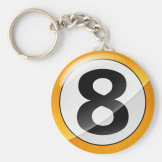 Number 8 gold key chains