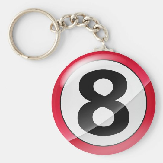 Number 8 red Key Chain