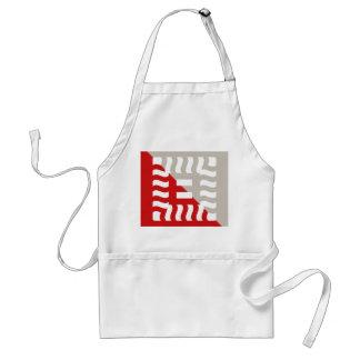 Number 8 split reverse red/taupe standard apron