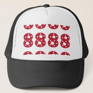 Number 8 - White Stars on Dark Red Trucker Hat