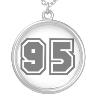 Number 95 round pendant necklace