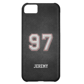 Number 97 Baseball Stitches with Black Metal Look iPhone 5C Case