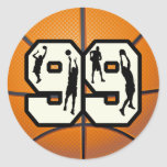 Number 99 Basketball Stickers
