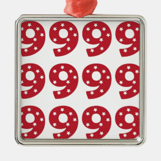 Number 9 - White Stars on Dark Red Christmas Ornament