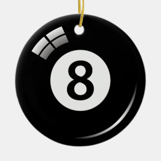 Number eight pool ball ornament - double sided