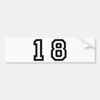 Number Eighteen Bumper Sticker