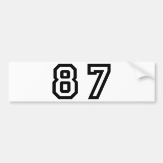 Number Eighty Seven Bumper Sticker