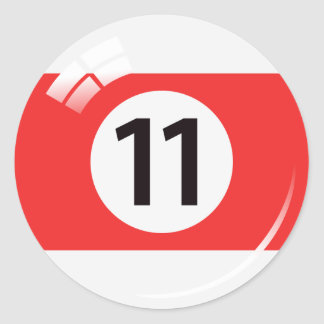 Number eleven pool ball stickers labels
