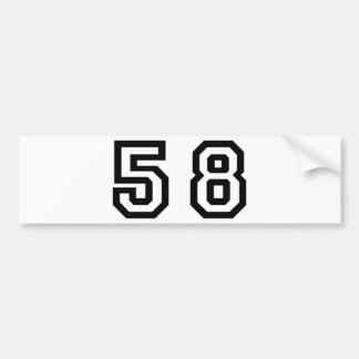 Number Fifity Eight Bumper Sticker