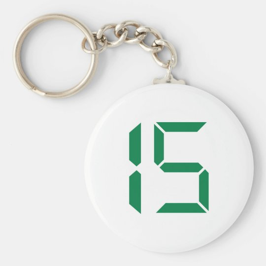 Number - Fifteen - 15 Basic Round Button Key Ring