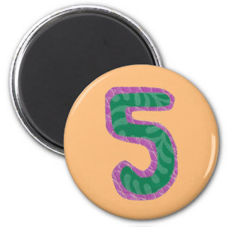 Number Five Magnet 2 Inch Round Magnet