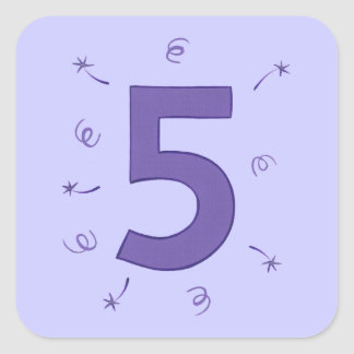 Number Five Purple Stars Ribbons Sparklers Sticker