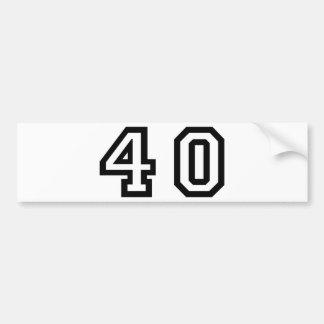 Number Forty Bumper Sticker