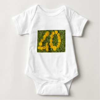 number forty drawn with dandelion on the lawn baby bodysuit