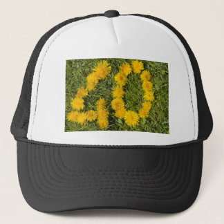 number forty drawn with dandelion on the lawn cap