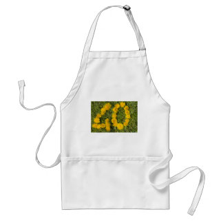number forty drawn with dandelion on the lawn standard apron