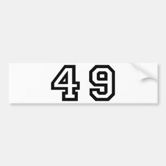 Number Forty Nine Bumper Sticker