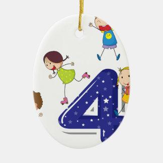 Number four ceramic oval decoration