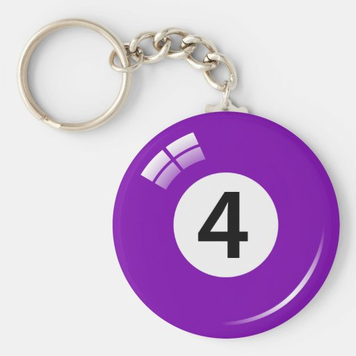 Number four pool ball keychain