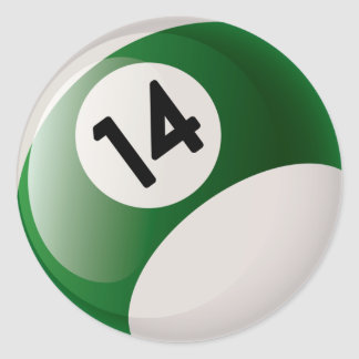 NUMBER FOURTEEN BILLIARDS BALL ROUND STICKER