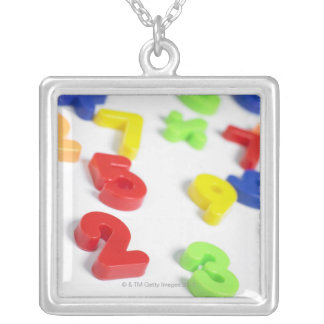 Number magnets silver plated necklace