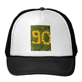 number ninety designed with dandelion on the lawn cap