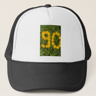 number ninety designed with dandelion on the lawn trucker hat