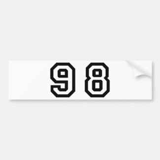 Number Ninety Eight Bumper Sticker
