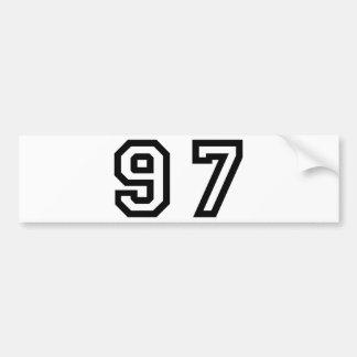 Number Ninety Seven Bumper Sticker
