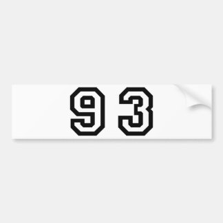 Number Ninety Three Bumper Sticker