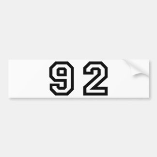 Number Ninety Two Bumper Sticker