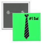 Number One #1 Dad Black Stripes Fake Tie Badge