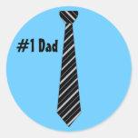 Number One #1 Dad Black Stripes Fake Tie Round Sticker