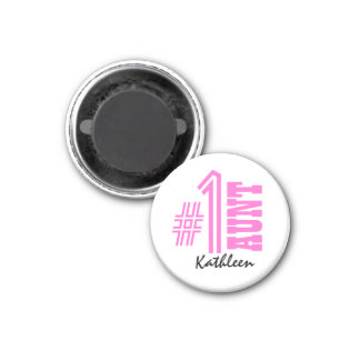 Number One AUNT Custom Name Gift Collection Pink 3 Cm Round Magnet