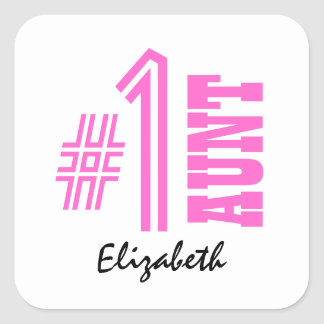 Number One AUNT Custom Name Gift Collection Pink Sticker