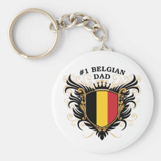 Number One Belgian Dad Basic Round Button Key Ring