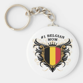 Number One Belgian Mom Basic Round Button Key Ring