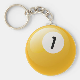 NUMBER ONE BILLIARDS BALL BASIC ROUND BUTTON KEY RING