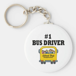 Number One Bus Driver Basic Round Button Key Ring