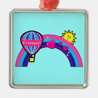 Number One Caregiver with Balloon and Rainbow Christmas Ornament