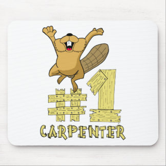 Number One Carpenter Beaver Cartoon Mouse Mat