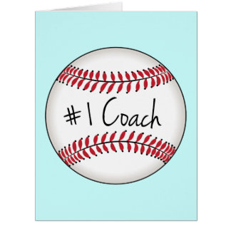 Number One Coach Baseball Get Well Soon Big Greeting Card