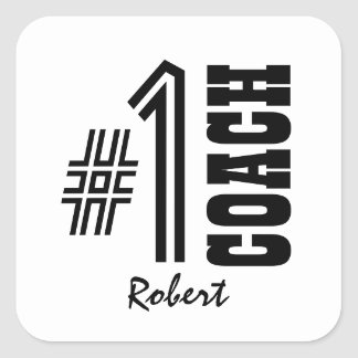 Number One COACH Black and White A01 Square Sticker