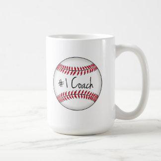 Number One Coach on Baseball Basic White Mug